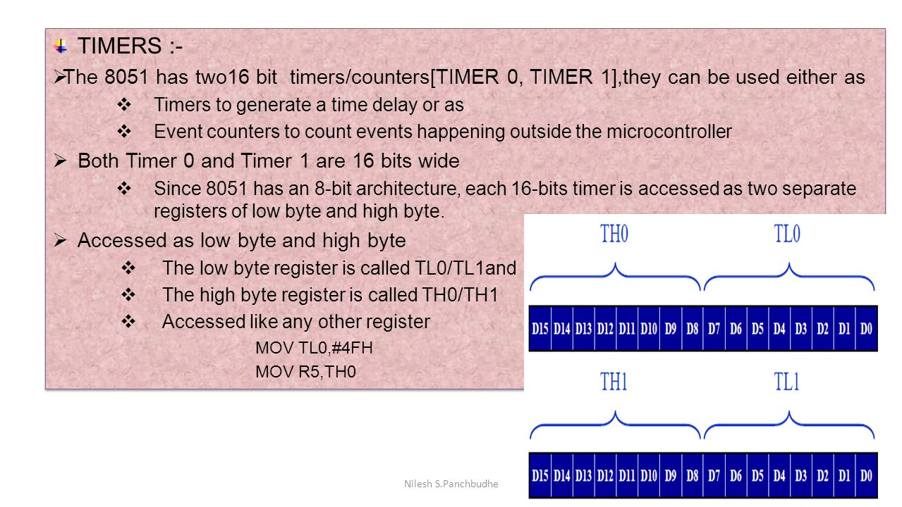 TIMERS :- The 8051 has two16 bit timers/counters[TIMER 0, TIMER 1],they can be used either as. Timers to generate a time delay or as.